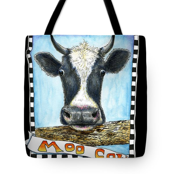 Tote Bag featuring the drawing Moo Cow In Black by Retta Stephenson