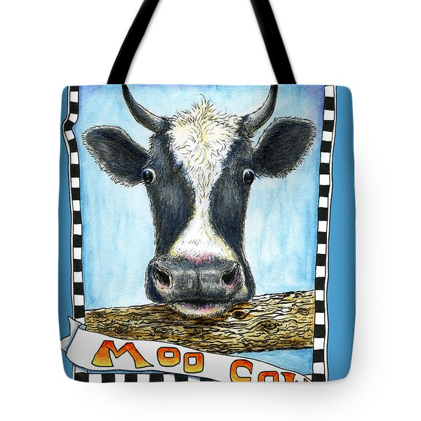 Tote Bag featuring the drawing Moo Cow In Blue by Retta Stephenson
