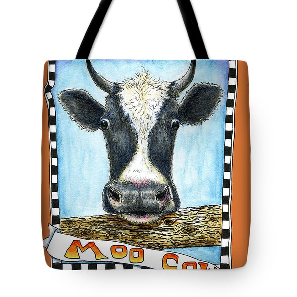 Tote Bag featuring the painting Moo Cow In Orange by Retta Stephenson