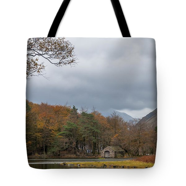 Moody Clouds Over A Boathouse On Wast Water In The Lake District Tote Bag
