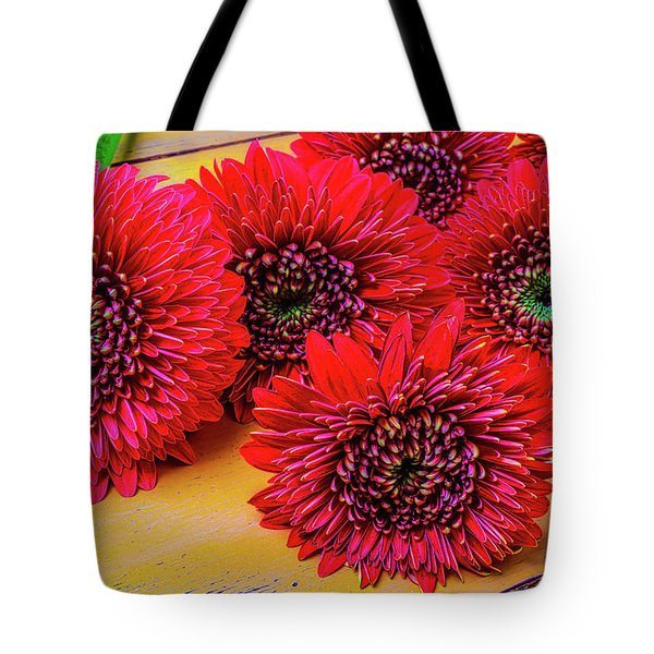 Moody Red Gerbera Dasies Tote Bag by Garry Gay