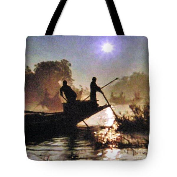 Moody River Silhouettes At Sunset Tote Bag