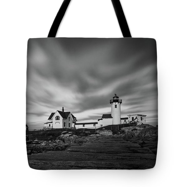 Moody Sky At Eastern Point Lighthouse Tote Bag