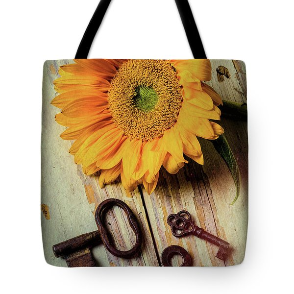 Moody Sunflower With Keys Tote Bag