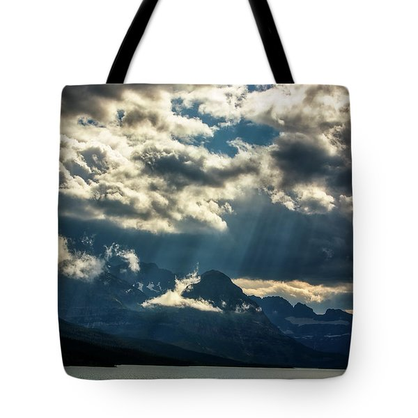 Moody Sunrays Over Glacier National Park Tote Bag