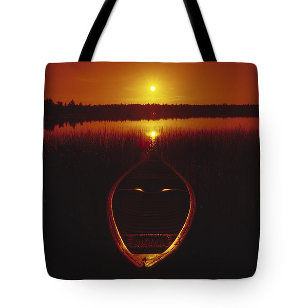Moody Sunrise Lake Scene With Cedar Canoe Tote Bag