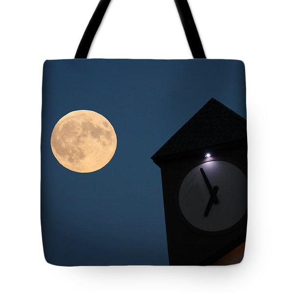 Moon And Clock Tower Tote Bag