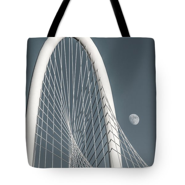 Moon At Margaret Hunt Hill Bridge  Tote Bag