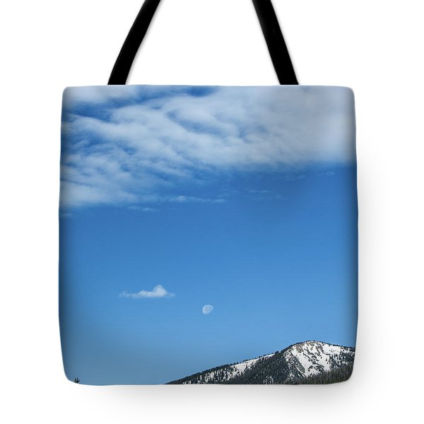 Tote Bag featuring the photograph Moon And Mountain Peak by Tyson Kinnison