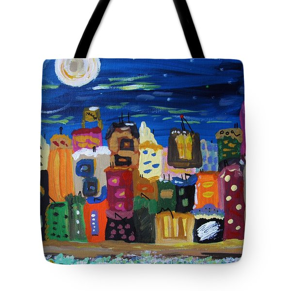Moon And Sea Waves Tote Bag