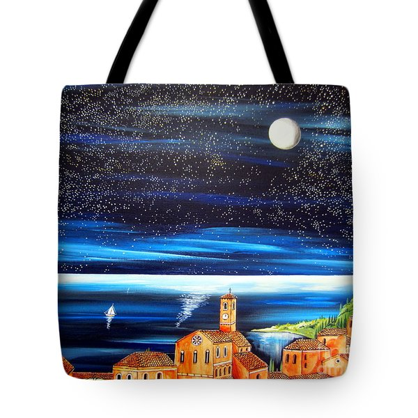Moon And Stars Over The Village  Tote Bag