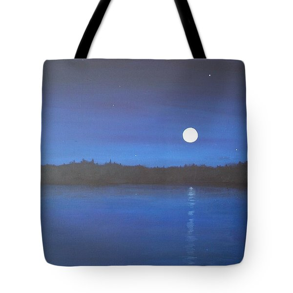 Moon And Stars Reflected Tote Bag by Denise   Hoff