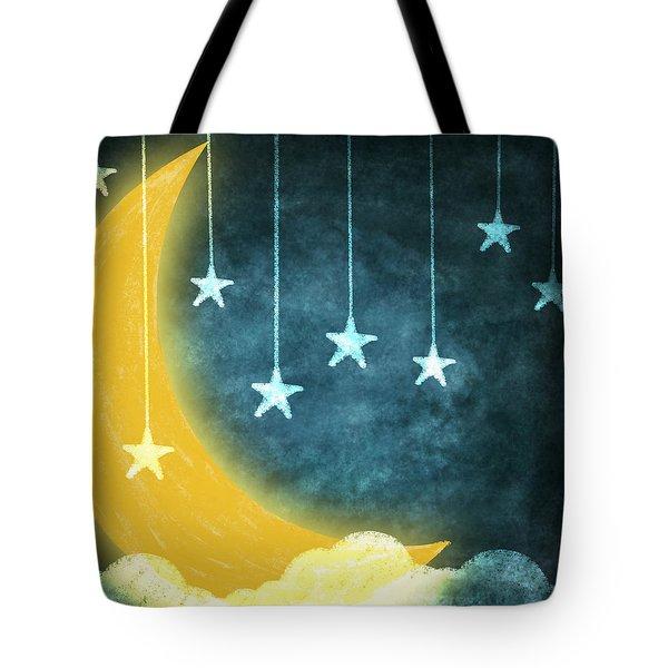 Moon And Stars Tote Bag by Setsiri Silapasuwanchai
