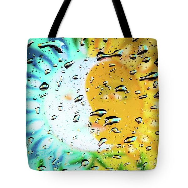 Moon And Sun Rainy Day Windowpane Tote Bag