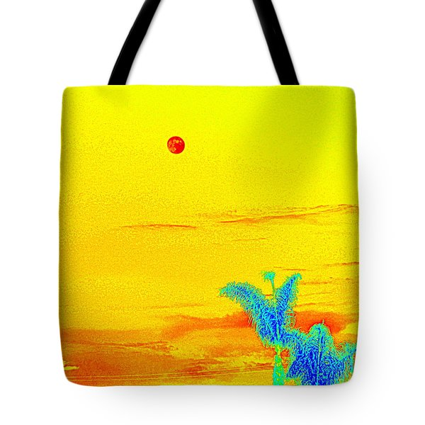 Moon And Two Palms Tote Bag
