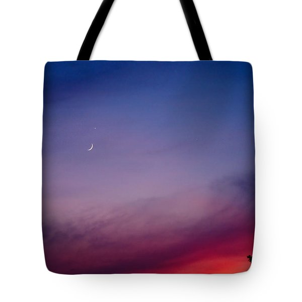 Moon And Venus At Sunset Tote Bag