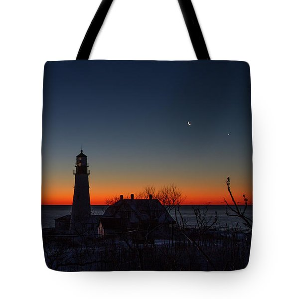 Moon And Venus - Headlight Sunrise Tote Bag