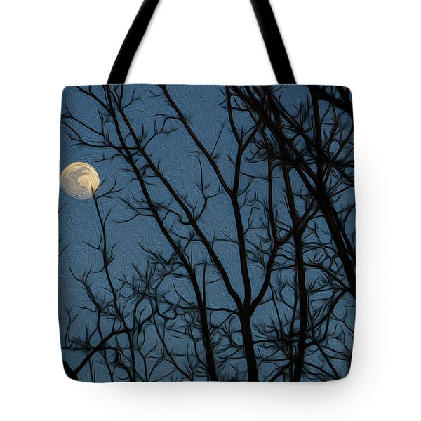 Moon At Dusk Through Trees - Impressionism Tote Bag
