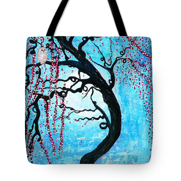 Tote Bag featuring the mixed media Moon Blossoms by Natalie Briney