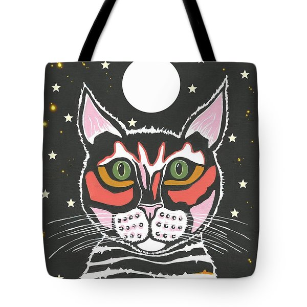 Moon Cat Tote Bag by Kathleen Sartoris