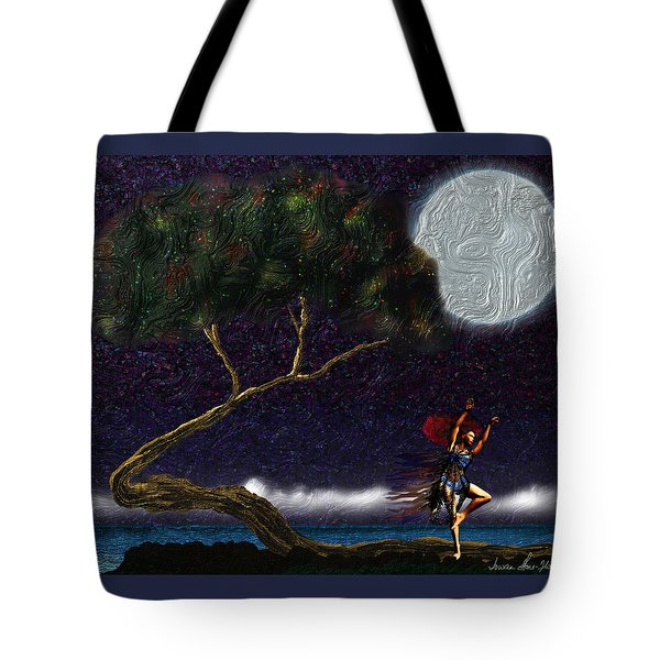 Tote Bag featuring the digital art Moon Dancer by Iowan Stone-Flowers