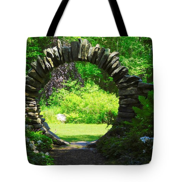 Moon Gate At Kinney Azalea Gardens Tote Bag