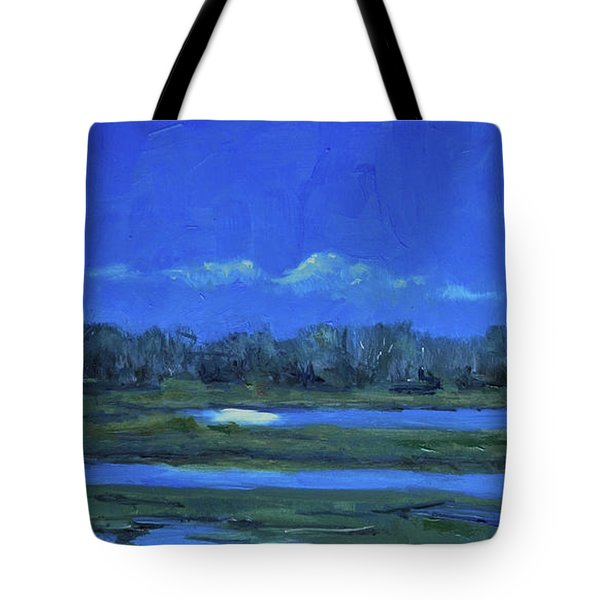 Tote Bag featuring the painting Moon Light And Mud Puddles by Billie Colson