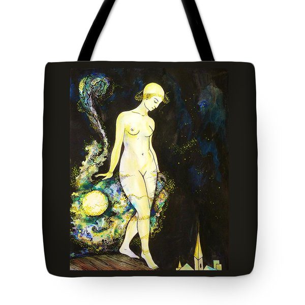 Tote Bag featuring the drawing Moon Light by Anna  Duyunova