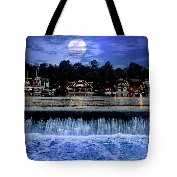 Tote Bag featuring the photograph Moon Light - Boathouse Row Philadelphia by Bill Cannon