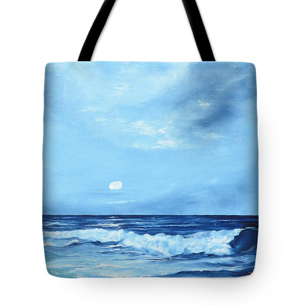 Moon Light Night Wave Tote Bag