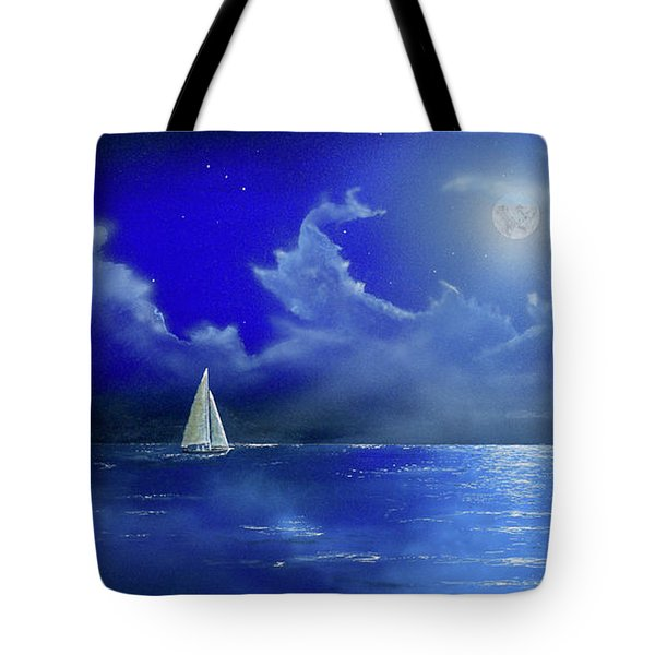 Tote Bag featuring the painting Moon Light Sail by Mary Scott