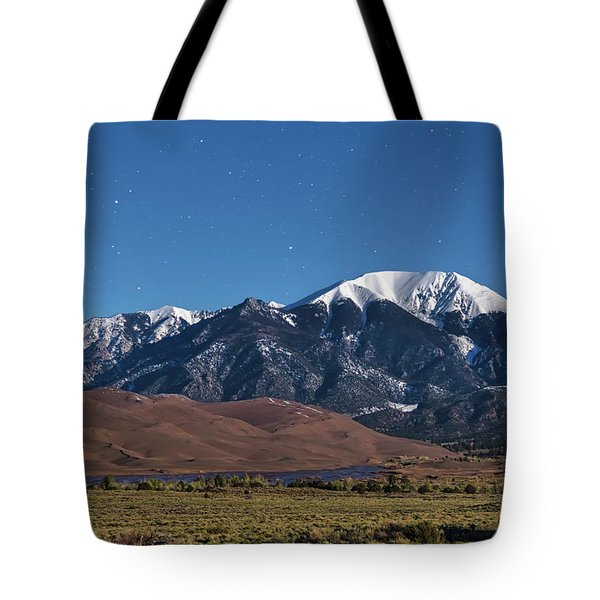Moon Lit Colorado Great Sand Dunes Starry Night  Tote Bag by James BO Insogna
