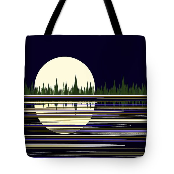 Tote Bag featuring the digital art Moon Lit Water by Val Arie