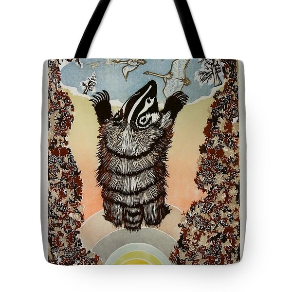 Tote Bag featuring the drawing Moon Of Falling Leaves by Dawn Senior-Trask