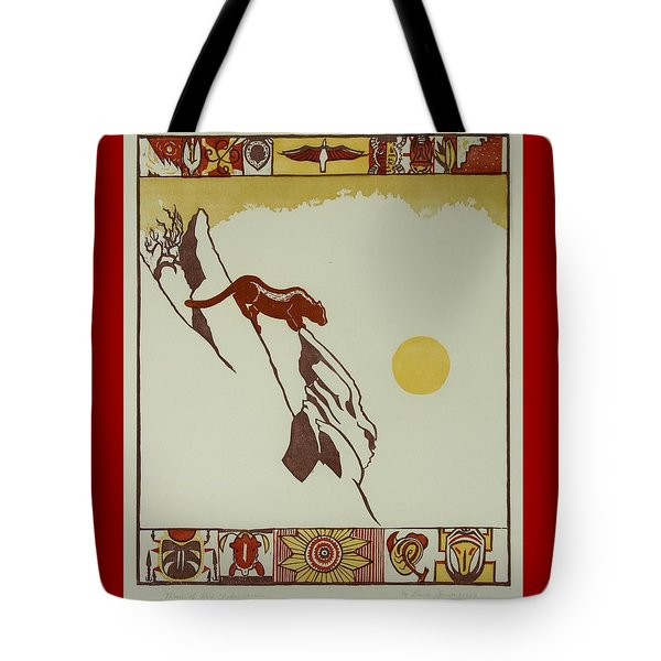 Tote Bag featuring the drawing Moon Of Red Chokecherries by Dawn Senior-Trask