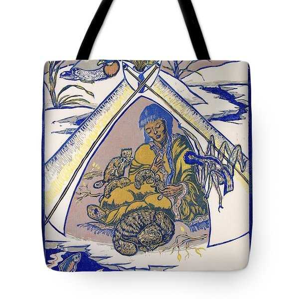 Tote Bag featuring the drawing Moon Of The Deep Sleep by Dawn Senior-Trask