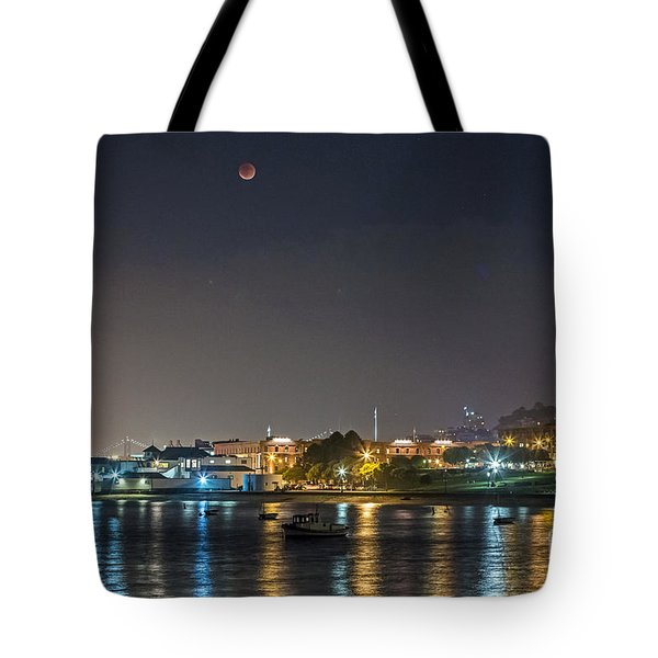 Tote Bag featuring the photograph Moon Over Aquatic Park by Kate Brown