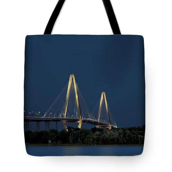Tote Bag featuring the photograph Moon Over Arthur Ravenel Jr. Bridge by Ken Barrett