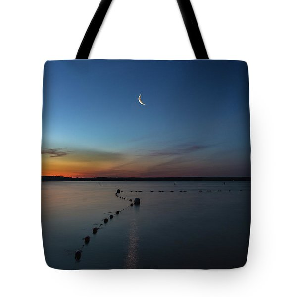 Moon Over Cayuga Tote Bag