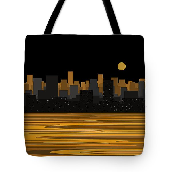 Moon Over City Skyline Tote Bag