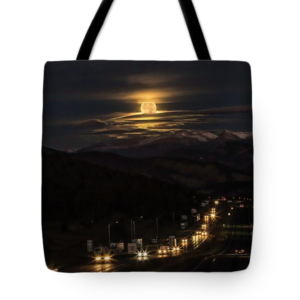 Moon Over Genessee Tote Bag