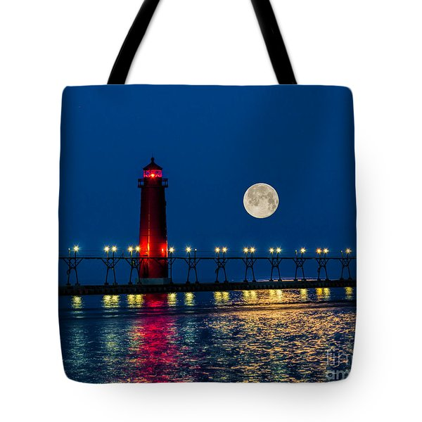 Moon Over Grand Haven Tote Bag