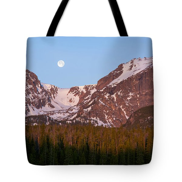 Tote Bag featuring the photograph Moon Over Hallett Peak by Aaron Spong
