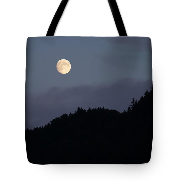 Tote Bag featuring the photograph Moon Over Hill by Menega Sabidussi