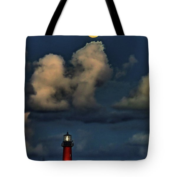 Moon Over Lighthouse Tote Bag