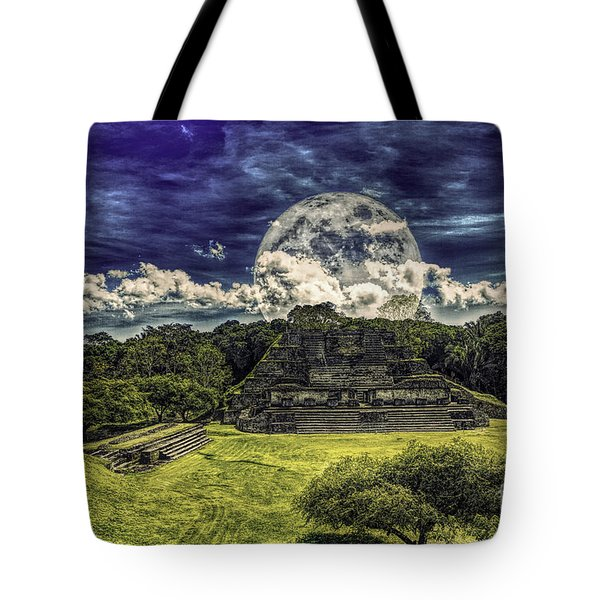 Moon Over Mayan Temple Two Tote Bag