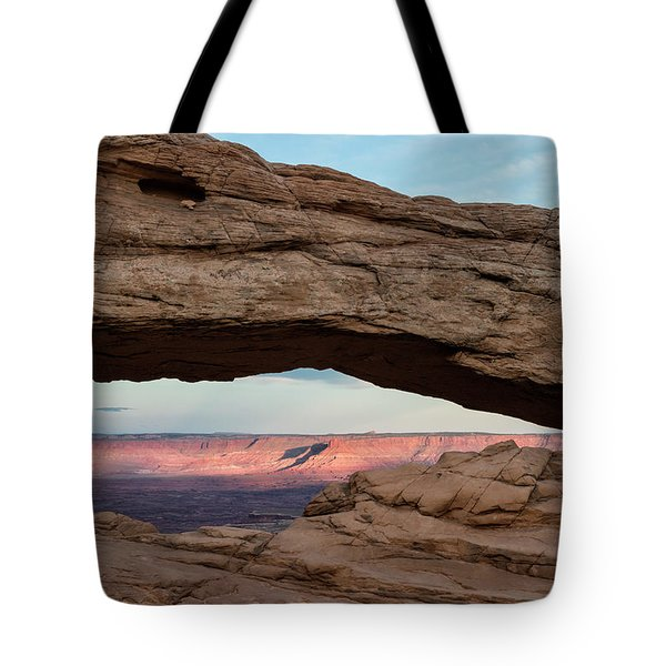 Moon Over Mesa Arch Tote Bag
