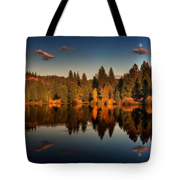 Moon Over Mill Pond Tote Bag by Mick Burkey