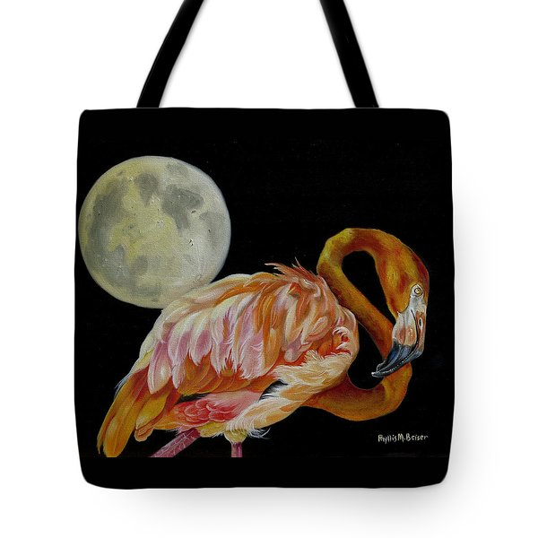 Tote Bag featuring the painting Moon Over Mississippi A Flamingos Perspective by Phyllis Beiser