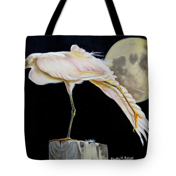 Tote Bag featuring the painting Moon Over Mississippi A Snowy Egrets Perspective by Phyllis Beiser